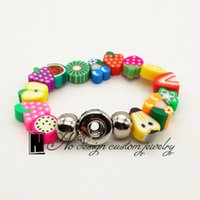 acrylic fruit plate - New Fashion No Design jewelry Sweet fruit Zootopia Interchangeable ginger snap Bracelet fit snaps buttons fit mm snaps buttons