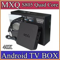 Wholesale 40X Genuine MXQ Kodi Smart TV BOX Amlogic S805 Quad Core XBMC Media Player Android GB GB Fully Loaded Google Play Store Rooted A D4