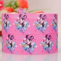 Wholesale 22mm quot Christmas Minnie head cartoon girl printed hairbow grosgrain ribbon tape yards