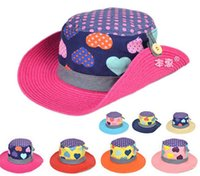 Wholesale Beautiful Fashion Spring Girl Cap Baby Girl Summer Hat Girl Sun Hat Cartoon Cordate Beach Visor Girl Hat Drop Shipping