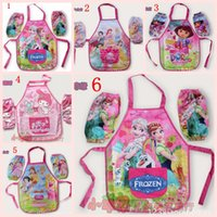 Wholesale Frozen Anna Elsa Layers Kids Young Girl Cooking Painting Apron sleeves LJJH390 SET