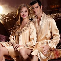 bathrobes for sale - Sale Men s And Women s Silk Robe for The Home Dressing Gowns Brand Silky Bathrobe Homewear Lovers Sexy Nightgown