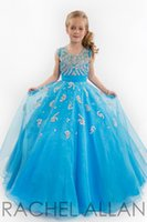 beauty pageant gowns - 2015 Beauty Little Girls Glitz Pageant Dresses Ball Gown Jewel Beads Applique Blue And Fuchsia Floor Length Kids Flower Girl Dresses AC0233