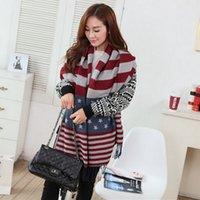 Wholesale 200pcs Fashion Star Flag Ladies Neck Warmer Faux Cashmere Winter Blanket Women Scarf Stripe Long Shawsl and Scarves