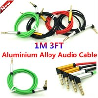 Wholesale 3 mm Bend Audio Auxiliary Cable Aluminum Metal m AUX Extension Male Stereo Car Jack cord for iphone6s Samsung S7 MP3 ipod speaker computer