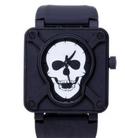 automatic movement swiss watch - Luxury Swiss Brand Men Automatic Movement Mechanical Watches Classic Skull Face Black Rubber Strap Stainless Mens Fashion Wristwatch For Man