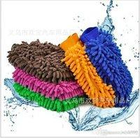 Wholesale car wash Double sided microfiber Snow Neil fiber high density car wash mitt car wash gloves towel