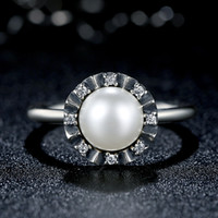 sterling silver rings - Pandora Style Everlasting Grace Sterling Silver Rings with White Pearl Clear CZ Fashion Promise Engagement Rings for Women R050