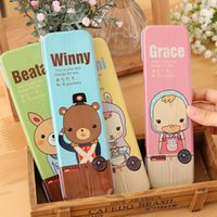 Wholesale 2015 children girl boy Creative learning items stationery cute animal pencil cases for Students kids Pencil cases many style random