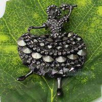 aqua wedding invitations - 1 X Wedding Bridal Dancing Ballet Girl Brooch Pin Crystal Rhinestone Brooch For Wedding Invitations Black Color order lt no tracking