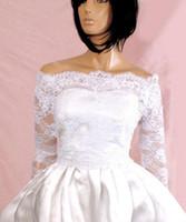 beige bolero - 2015 Fall New Lace Bridal Jackets Off shoulder Long Sleeve Covered Button Lace Applique Wedding Wraps Bolero
