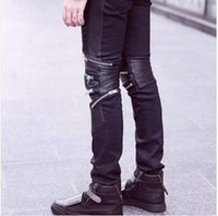Wholesale Men s Famous Brand High Quality Fashion Skinny Jeans With Zippers black