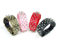 pit bull - Spiked Studded Pet Dog Collars Adjustable Faux Leather Dogs Leashes Pit Bull Boxer Mastiff Breeds Collars Many colors for Choose