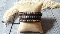 Wholesale Agate Beaded Wrap Bracelet Brown Bead Wrap Simulated Leather Bracelet