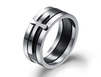 asian male fashion - 2016 Brand New Black Ring Man Fashion Male Jewelry Accessories Wide Cool Cross Rings For Men Titanium Steel Mens Rings Anel