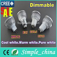 Wholesale 2015 Real Direct Selling Gu10 e27 gu5 Dimmable w w w Led Lamp v v Spotlight Bulbs Warm pure cool years Warranty