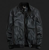 Wholesale Fall new fashion brand mens motorcycle leather jackets collar jackets regular clothing solid color vintage mens jackets
