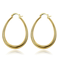 Wholesale Fashion Jewelry Small Oval Hoop Yellow Gold Rose Gold Plated Hoop Earrings for Women Girls Pair