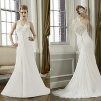 ball racer - 2014 Chiffon Ball Gowns Halter V_neck Beading Appliques Sheer Wedding Dresses Sexy Racer Back Bridal Dress Pleat Lace Long Wedding Gowns