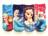 cartoon socks - Autumn Winter Frozen Girls Socks Anna Elsa socks for kids Summer Baby Cotton Socks Cartoon Children Normal Sneaker Socks pair bag