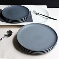Wholesale Zeder original matte black matte ceramic ZEROKY CLAN Western disc tray steak plate cake plate