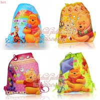 best kids backpacks - 12Pcs Winnie the Pooh Kids Drawstring Backpack cm Handbags Kids School bags Shopping Bags kid Best Gift