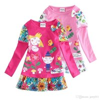 baby holly - Hot sale girls dresses nova baby kids clothes ben and holly long sleeve flower vestidos children party casual dress
