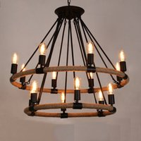 arts crafts chandelier - Pendant lights Arts rope chandelier Romantic craft style lighting Iron Ceiling plate lights Coffee Bar Lights with heads
