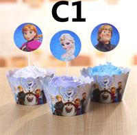 Wholesale Frozen Party Decorations Event Frozen Cupcake Wrappers Elsa Anna Kristoff Cup Cake Topper Picks Kids Birthday Supplies Party Favors H0154