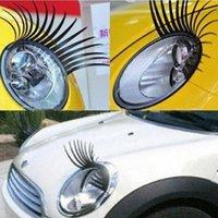 Wholesale Black D Automotive Headlight Eyelashes Car Eye Lashes Auto Eyelash D Car Logo Sticker charming eyelash stickers for cars pairs
