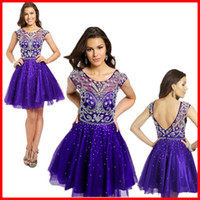 Wholesale 2015 Summer Homecoming Dresses Sheer Purple Tulle Short For Juniors Cute Prom Girls Cheap Crystal Beaded Cocktail Dress Backless Ball Gowns