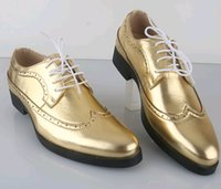Wholesale NEW classic men s gold leather lace up shoes fashion leisure business wedding groom shoes breathable shoes size