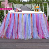 Cheap 2016 New Arrival Tutu Table Skirts for Birthday Party and Weddings 7 Colors Rainbow Tutu Table Skirt for Banquets Custom Made