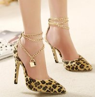 chain metal dress - Metal chain with lock sexy leopard stiletto heel pumps shallow mouth womens shoes party dress shoes size to