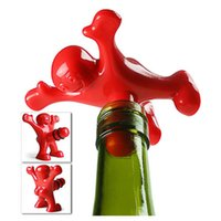 Wholesale Newest Funny Happy Man Guy Wine Stopper Novelty Bar Tools Wine Cork Bottle Plug Perky Creative Gifts