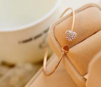 Wholesale 2016 Women New Fashion Style Gold Rhinestone Love Heart Bangle Cuff Bracelet Jewelry Wedding Bracelets