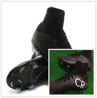 Cheap New CR7 Flyknit Soccer Boots Football Shoes 2014 Men Athletic Cleats Outdoor Ball Sportswear Original Black High Top Boot New In Box Cheap
