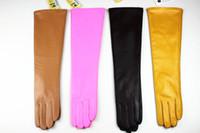 fashion fingerless leather gloves - new long sheepskin gloves bag mail female cm long straight multicolor leather gloves