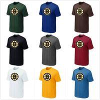 t-shirts no logo - Cheap Hockey Shirts Boston Bruins t shirts Big Tall Logo Fashion Bruins Hockey Tees Shirt O Neck Cotton Short Sleeve Colors