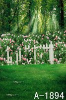 Wholesale Green Forest Sunlight Trees Flowers White Fence Scenic Spring X7ft Vinyl Background Wedding Outdoor Photography Studio Backdrop