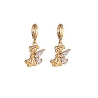 Wholesale New Arrival K Gold Filled Earring CC Lucky Angel Gold Plated Inlay Waterdrop Clear Crystal Dangle Drop Earrings