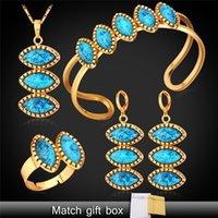 Pendientes de turquesa juego de anillos Baratos-Joyería turca Establece los pendientes del collar de la turquesa Pulsera Anillo Set para las mujeres de 18 quilates de oro / platino plateado Estilo Verano PEHR1116