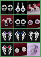 nail charms - 925 Silver jewelry crystal Charming women girls nail Earrings Pairs Mix style Choices Earrings Best gift
