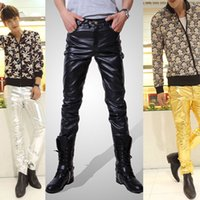 pu leather for leather pants - New Spring Fall Fashion Trend Men s black gold silver faux PU leather pants for men trousers boys slim skinny