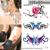 beautiful jewelry stickers - waterproof temporary tattoos for ldy women Beautiful d rose butterfly Jewelry design flash tattoo sticker RC2247