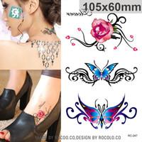 beautiful butterfly tattoos - waterproof temporary tattoos for ldy women Beautiful d rose butterfly Jewelry design flash tattoo sticker RC2247