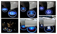 Wholesale 4pcs Vehicle Car LED wireless projection LOGO VW Opel Toyota Mark Door Welcome Light Door Step Ground Projecting Lamp for all brands