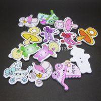 achat en gros de boutons de scrapbooking bébé-Livraison gratuite 50 au hasard Mixed Lovely Baby Bois coudre Boutons Scrapbooking 2 trous 2.6-4cm B01824 M63180