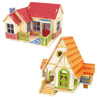 Wholesale Kids DIY Wood D House Puzzle Model Building Kits Wooden toys Educational