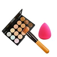 best cream concealers - BEST Color Concealer Palette Wooden Handle Brush Teardrop shaped Puff Makeup Set Foundation Concealers